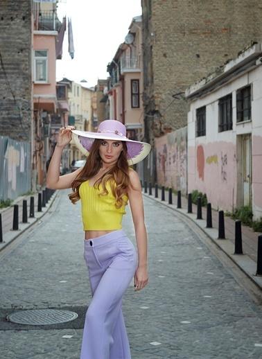 Laslusa İçten Ayarlanabilir Aksesuarli Hasır Geniş Kenar Şapka Lila